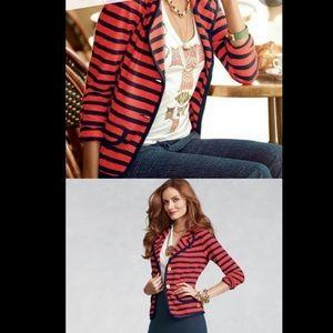 CAbi Au Revoir Red Nautical Stripe Blazer Size S